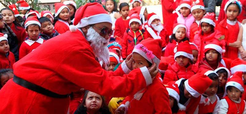 nepali viviendo Navidad en Nepal